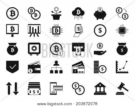 Coins, bitcoin, digital money and other symbols of finance. Vector silhouette set of business icons. Illustration of bitcoin currency, money cryptocurrency virtual