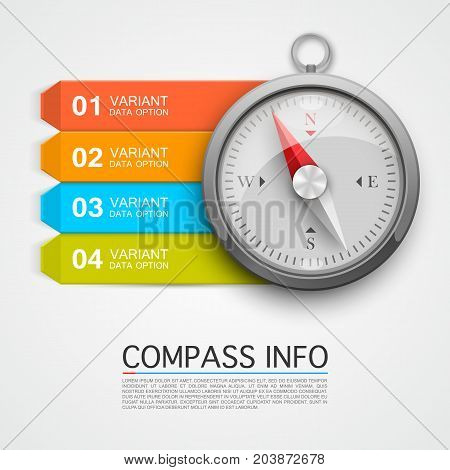 Compass info arrow. Key infographic, navigation info arrow. Vector illustration