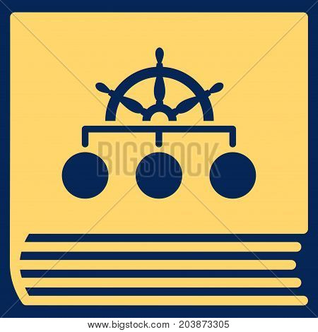 Ship Guide Book vector icon. Flat yellow symbol. Pictogram is isolated on a blue background. Designed for web and software interfaces.