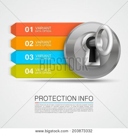 Protection info arrow. Key infographic, padlock info arrow. Vector illustration