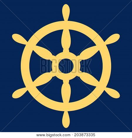 Ship Steering Wheel vector icon. Flat yellow symbol. Pictogram is isolated on a blue background. Designed for web and software interfaces.