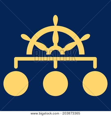 Ship Wheel Hierarchy vector icon. Flat yellow symbol. Pictogram is isolated on a blue background. Designed for web and software interfaces.