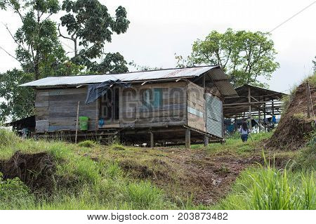 June 5 2017 Lago Agrio Ecuador: typical housing of the indigenous people in the Amazon area of the country