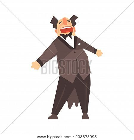 Male opera singer character cartoon vector Illustration on a white background