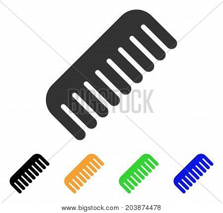 Comb icon. Vector illustration style is a flat iconic comb symbol with black, grey, green, blue, yellow color versions. Designed for web and software interfaces.