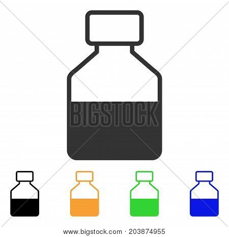 Liquid Bottle icon. Vector illustration style is a flat iconic liquid bottle symbol with black, gray, green, blue, yellow color versions. Designed for web and software interfaces.