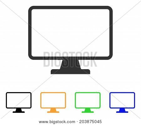 Monitor icon. Vector illustration style is a flat iconic monitor symbol with black, grey, green, blue, yellow color variants. Designed for web and software interfaces.