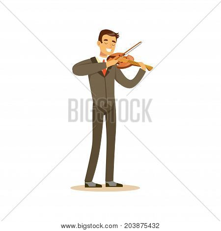 Male musician wearing a classic suit playing violin, classical music performance vector Illustration on a white background
