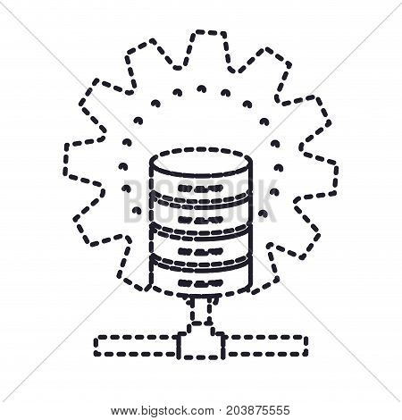data base center monochrome silhouette dotted vector illustration