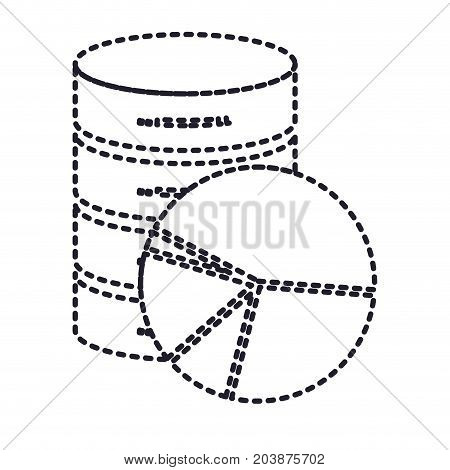 server hosting storage icon and available space circular graphic in monochrome silhouette dotted vector illustration