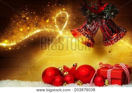 A Christmas decoration with balls and bells