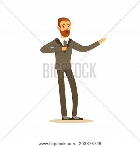Elegantly dressed male opera singer singing with microphone vector Illustration on a white background