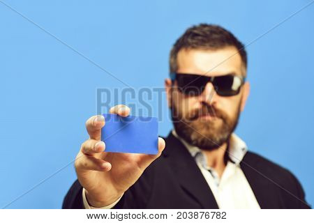 Businessman With Empty Card, Copy Space. Guy With Confident Face