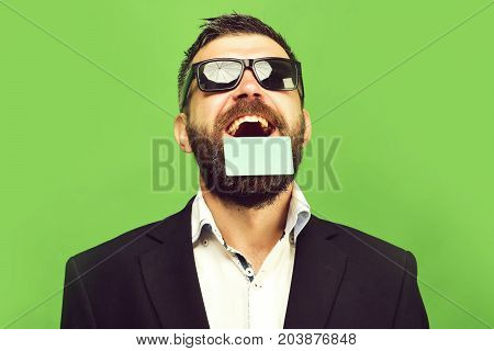 Businessman And Empty Card With Copy Space. Business And Success