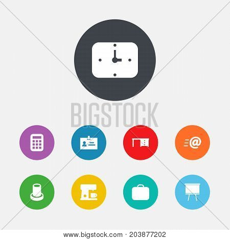 Collection Of Stand , Time , Desktop Elements.  Set Of 9 Bureau Icons Set.