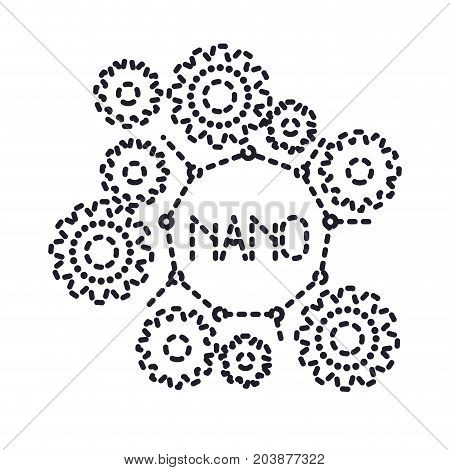 set gear machinery with nano molecular structure monochrome silhouette dotted vector illustration