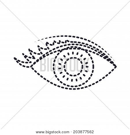 eye with eyelashes in monochrome silhouette dotted vector illustration