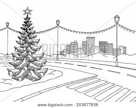 Winter street graphic black white landscape sketch illustration vector