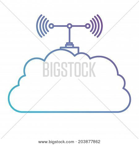 cloud service and transmission antenna icon in color gradient silhouette from purple to blue vector illustration