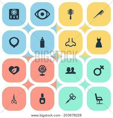 Elements Woman Symbol, Dress, Customers And Other Synonyms Brush, Polish And Hair.  Vector Illustration Set Of Simple Salon Icons.