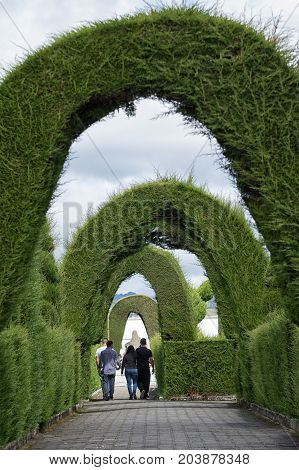 May 16 2017 Tulcan Ecuador: the extensive topiary of the local cemetery is a very popular tourist destination