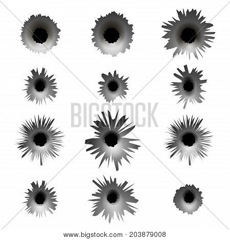Set of Different Bullet Holes Isolated on White Background