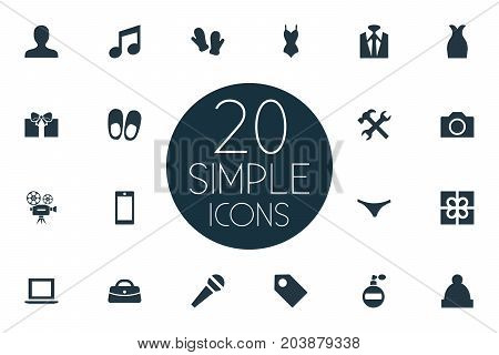 Elements Tuxedo, Microphone, Person And Other Synonyms Apparatus, Gauntlet And Underpants.  Vector Illustration Set Of Simple Instrument Icons.