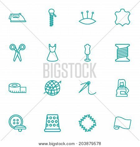 Collection Of Pincushion, Bobbin, Dress And Other Elements.  Set Of 16 Sewing Outline Icons Set.