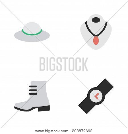 Elements Boot, Female Cap, Wristwatch And Other Synonyms Boot, Wristwatch And Choker.  Vector Illustration Set Of Simple Accessories Icons.