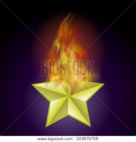 Vector Burning Star with Fire Flame Isolated on Blue Background
