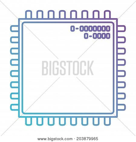 microchip closeup icon in color gradient silhouette from purple to blue vector illustration