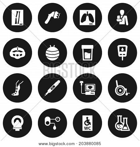 Collection Of Wheelchair Toilet, Splint, Hypertension And Other Elements.  Set Of 16 Medical Icons Set.