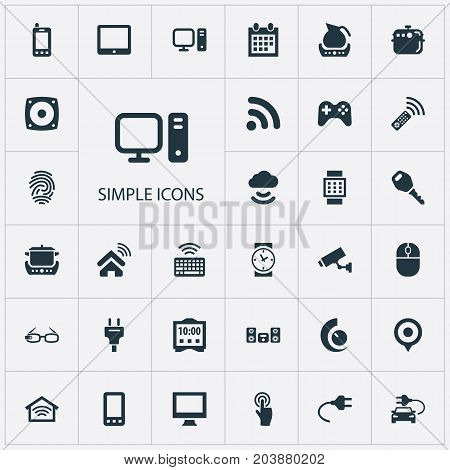 Elements Pin, Clock, Tv Adjusting And Other Synonyms Control, Computer And Multimedia.  Vector Illustration Set Of Simple Web Icons.