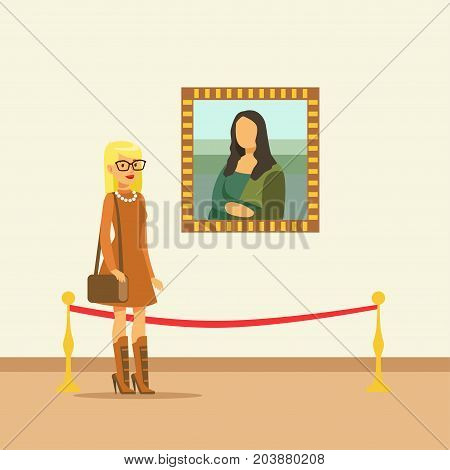 Young woman looking at the painting hanging on gallery wall, people viewing museum exhibit vector Illustration