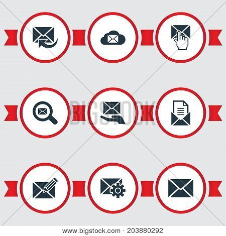 Elements Cloud, Entering, Renewed And Other Synonyms Postal, Seek And Storage.  Vector Illustration Set Of Simple Mailing Icons.