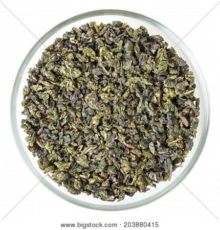 Top view of green oolong tea in glass bowl isolated on white background with clipping path