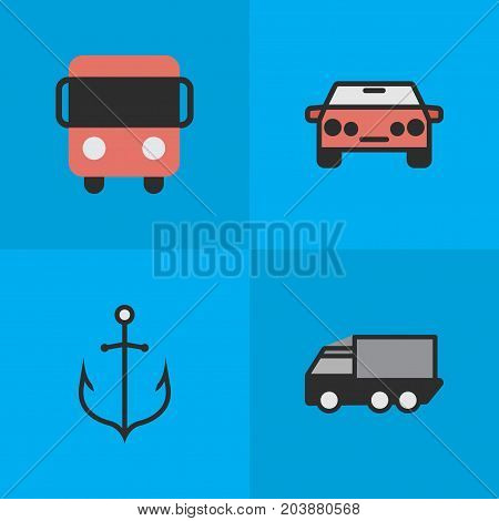 Elements Lorry, Autobus, Auto And Other Synonyms Car, Auto And Bus.  Vector Illustration Set Of Simple Traffic Icons.