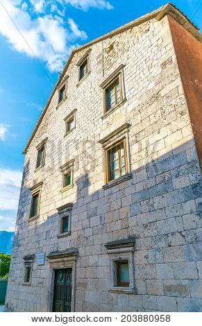 The medieval house stands on the coast of the Boka-Kotorska bay in the town of Prcanj.