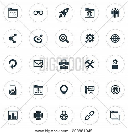 Elements Optical Zoom, Reroute, Statistics And Other Synonyms Statistic, Aim And Bookmark.  Vector Illustration Set Of Simple Search Icons.