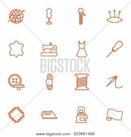Collection Of Patch, Buttons, Pincushion And Other Elements.  Set Of 16 Sewing Outline Icons Set.