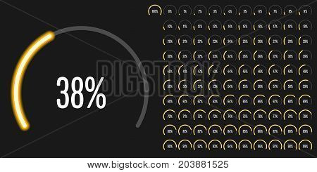 Set of circular sector percentage diagrams from 0 to 100 ready-to-use for web design, user interface (UI) or infographic - indicator with neon yellow