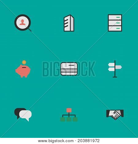 Elements Structure, Pay, Moneybox And Other Synonyms Engine, Magnifier And Bank.  Vector Illustration Set Of Simple Business Icons.