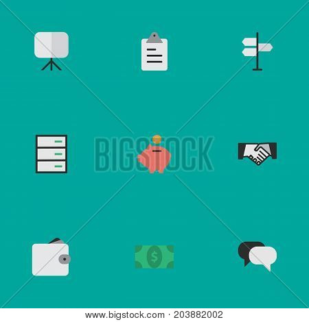 Elements Agreement, Talking, Easel And Other Synonyms Agreement, Handshake And Pouch.  Vector Illustration Set Of Simple Business Icons.