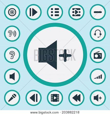 Elements Plus, Podcast, Speech And Other Synonyms Bass, Music And Microphone.  Vector Illustration Set Of Simple Sound Icons.