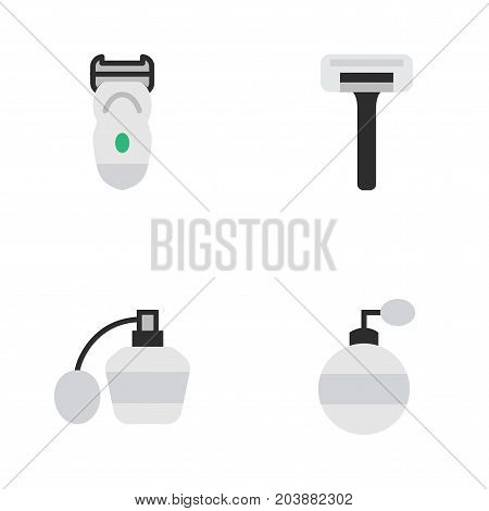 Elements Shaver, Electronic, Perfume And Other Synonyms Machine, Perfume And Bottle.  Vector Illustration Set Of Simple Barber Icons.