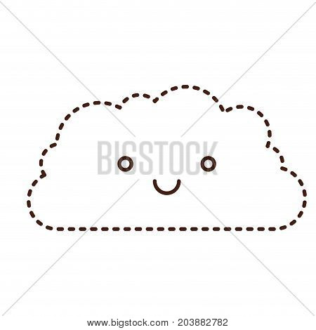 cloud cartoon kawaii in monochrome dotted silhouette vector illustration