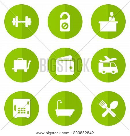Collection Of Barbell, Cafe, Bathtub And Other Elements.  Set Of 9 Motel Icons Set.