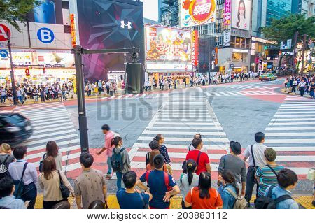 TOKYO, JAPAN JUNE 28 - 2017: Unidentified people waiting the green light for crossing the Shibuya street in Tokyo, Japan. The famous scramble crosswalk is used by over 2.5 million people daily.