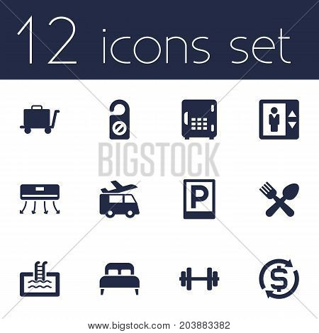 Collection Of Wall Cooler, Barbell, Transportation And Other Elements.  Set Of 12 Motel Icons Set.
