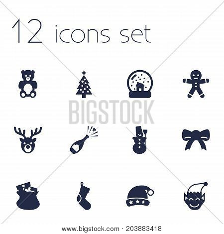 Collection Of Fizz, Sack, Deer And Other Elements.  Set Of 12 New Icons Set.